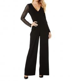 BCBGMaxazria Black Notched Neck Long Woven Jumpsuit