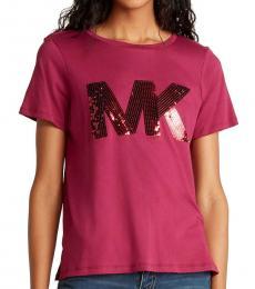 Michael Kors Dark Pink Sequin Logo Tee