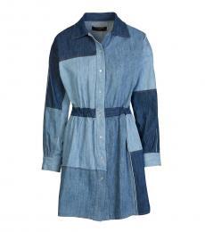 Blue Colorblock Shirt Dress