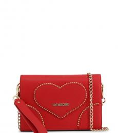 Love Moschino Red Studded Heart Small Crossbody
