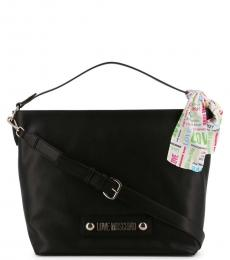 Love Moschino Black Scarf Large Hobo