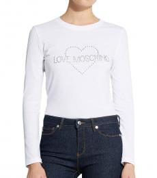 Love Moschino White Long Sleeves Logo Tee