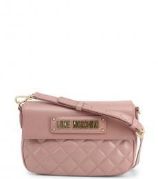 Love Moschino Pink Flap Logo Small Crossbody