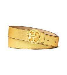 Tory Burch Gold Twisted Logo Belt