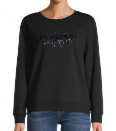 Karl Lagerfeld Black Embellished Logo Cotton-Blend Sweatshirt