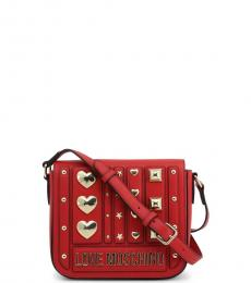 Love Moschino Red Metal Studs Flap Small Crossbody