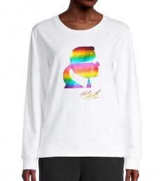 Karl Lagerfeld White Rainbow Rainbow Graphic Sweatshirt