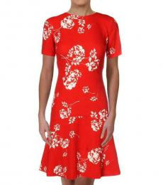 Ralph Lauren Orange Crepe Pleated Floral Mini Dress