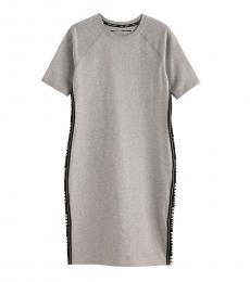 DKNY Grey Logo Tape Short Sleeve Midi Dress