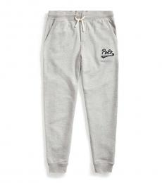 Ralph Lauren Boys Andover Heather Logo-Patch French Terry Pants