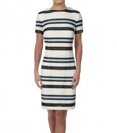 Ralph Lauren Aqua/Navy Chevron Striped Shift Dress