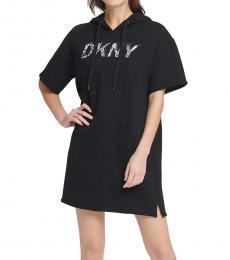 DKNY Black Snake Print Logo Hoodie Dress