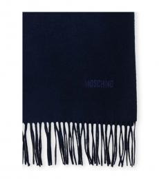 Moschino Blue Logo Fringe Scarf