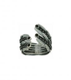 Antique Silver Dark Plumes Statement Ring