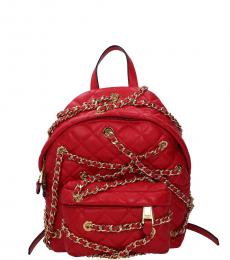 Moschino Red Chain Detail Small Backpack