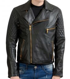 Versus Versace Black Leather Zip Up Jacket