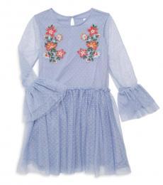 BCBGirls Little Girls Blue Embroidered Mesh Dress