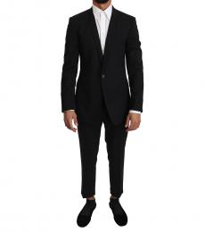 Black Wool Stretch Gold Suit