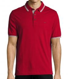 Ruby Red Stripe-Trim Polo