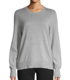Grey Crewneck Cotton-Blend Sweater