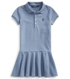 Ralph Lauren Little Girls Capri Blue Mesh Polo Dress