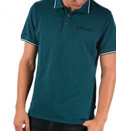 Just Cavalli Green Stretch Cotton Polo