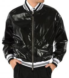 Just Cavalli Black Coated Bomber Jacket