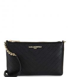 Karl Lagerfeld Black Chevron Quilted Medium Crossbody