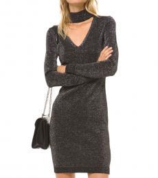 Dark Grey Metallic Knit Cutout Sweater Dress