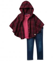 7 For All Mankind 3 Piece Poncho/T-Shirt/Jeans Set (Little Girls)