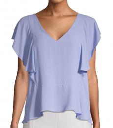 BCBGMaxazria Light Purple Ruffle Top