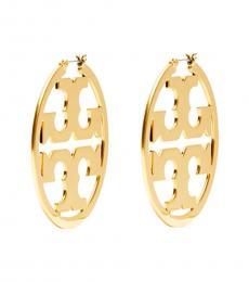 Tory Burch Gold Miller Logo Hoop Earrings