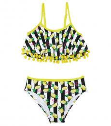 Betsey Johnson Girls Striped Pom-Pom-Trim Swim Set