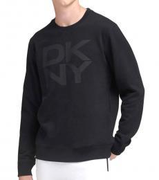 DKNY Black Stacked Logo Fleece Pullover