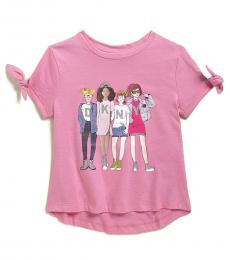 DKNY Little Girls Pink Hi-Low T-Shirt