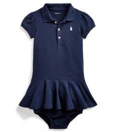 Ralph Lauren Baby Girls Navy Pique Polo Dress