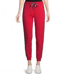Karl Lagerfeld Red Tapered Logo Jogging Pants