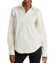 Ralph Lauren Cream Black Regular Fit Polka Dot Shirt