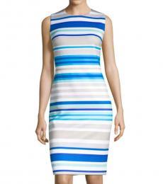 Khaki Multi Stripe Sheath Dress