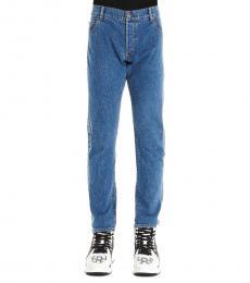 Balmain Blue Logo Striped Jeans