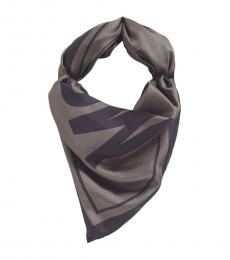 Moschino Grey Printed Square Scarf