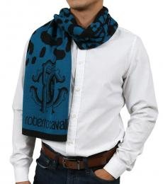Teal Blue-Black Leopard Print Scarf