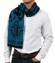 Roberto Cavalli Teal Blue-Black Leopard Print Scarf