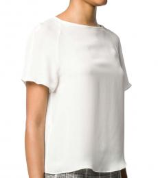 White  Silk Short Sleeve Blouse