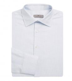 Canali Light Blue Graphic Check Shirt