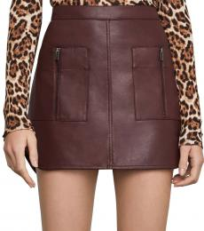 BCBGMaxazria Brown Patch Pocket Faux Leather Skirt