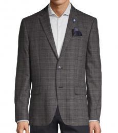 Ben Sherman Dark Grey Plaid Standard-Fit Coat