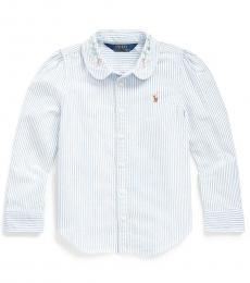 Ralph Lauren Little Girls Blue-White Floral Oxford Shirt