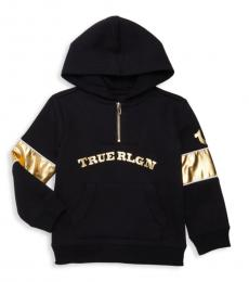 True Religion Little Girls Black Metallic-Accent Hoodie