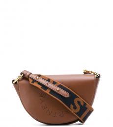 Stella McCartney Brown Logo Saddle Mini Shoulder Bag